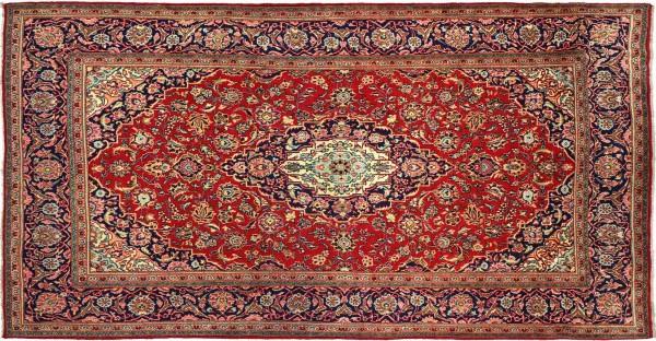 Perser Ardekan 340x200 Handgeknüpft Orientteppich 200x340 Rot Medaillon Wolle Kurzflor