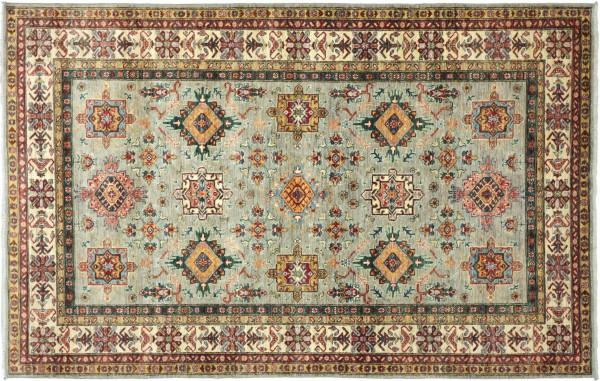 Afghan Kazak Fine Teppich 170x240 Handgeknüpft Grau Geometrische Wolle Kurzflor Rug