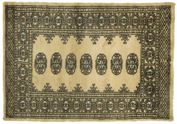 Pakistan Buchara 122x78 Handgeknüpft Teppich 80x120 Beige Geometrisch Muster Kurzflor