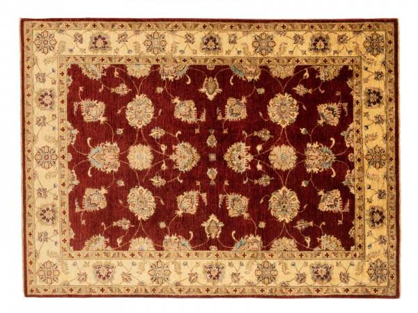 Afghan Chobi Ziegler 205x154 Handgeknüpft Teppich 150x210 Rot Blumenmuster Kurzflor