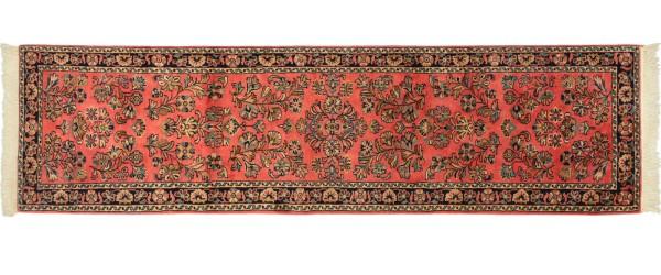 Sarough Teppich 70x270 Handgeknüpft Läufer Rosa Floral Wolle Kurzflor Rug