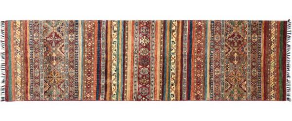 Afghan Khorjin Ziegler Floral Teppich 90x270 Handgeknüpft Läufer Orange Geometrische