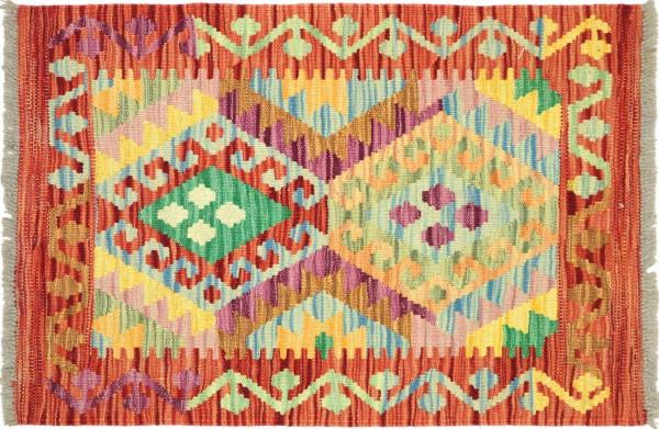 Afghan Maimana Kelim Bunt 83x63 Handgewebt Teppich 60x80 Bunt Geometrisch Orient Wolle