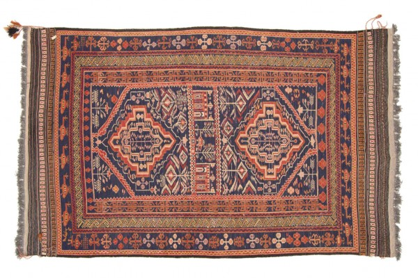 Afghan Taimani Kelim 208x126 Handgewebt Teppich 130x210 Blau Geometrisch Muster