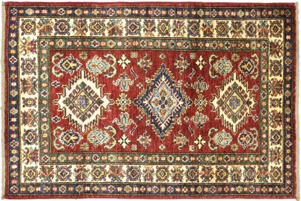 Afghan Kazak Fein 128x78 Handgeknüpft Orientteppich 80x130 Rot Umrandung Wolle Kurzflor