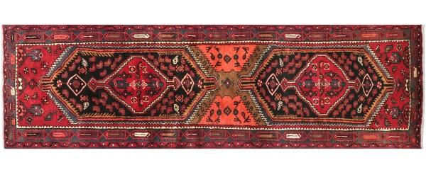 Perser Hamedan Teppich 100x310 Handgeknüpft Läufer Rot spiegelmuster Wolle Kurzflor Rug