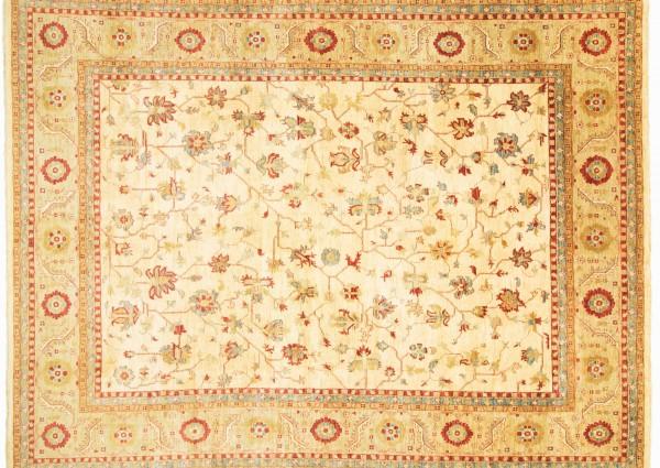 Afghan Chobi Ziegler 466x353 Handgeknüpft Teppich 350x470 Beige Orientalisch Kurzflor