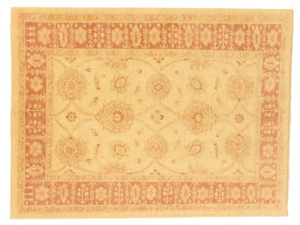 Afghan Chobi Ziegler 228x171 Handgeknüpft Teppich 170x230 Beige Orientalisch Kurzflor