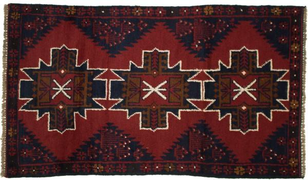 Afghan Belutsch 125x80 Handgeknüpft Teppich 80x130 Orange Geometrisch Muster Kurzflor