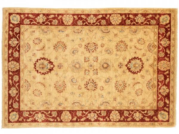 Afghan Chobi Ziegler 215x148 Handgeknüpft Teppich 150x220 Beige Blumenmuster Kurzflor