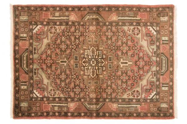 Perser Hamadan 140x100 Handgeknüpft Teppich 100x140 Grau Orientalisch Kurzflor Orient