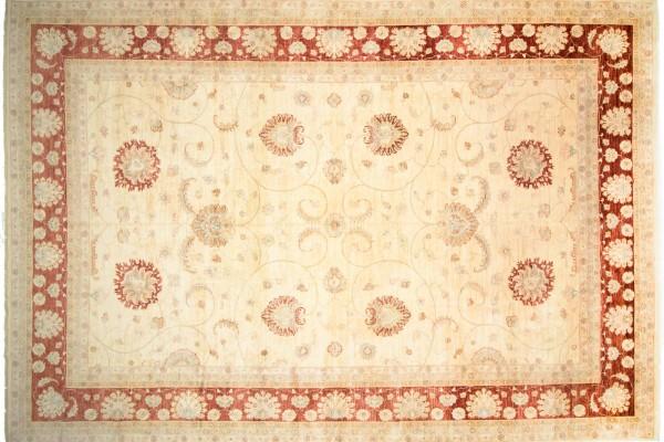 Afghan Chobi Ziegler 530x370 Handgeknüpft Teppich 370x530 Beige Blumenmuster Kurzflor