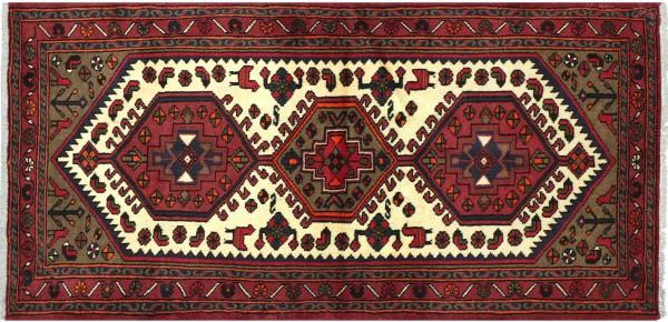 Perser Hamedan Teppich 90x180 Handgeknüpft Rot spiegelmuster Wolle Kurzflor Rug