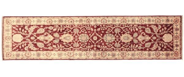 Afghan Chobi Ziegler 293x80 Handgeknüpft Teppich 80x290 Läufer Rot Orientalisch