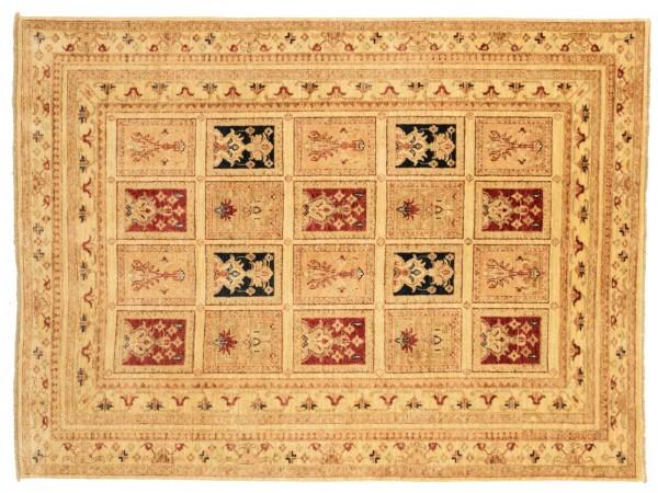 Afghan Chobi Ziegler 202x151 Handgeknüpft Teppich 150x200 Beige Geometrisch Muster