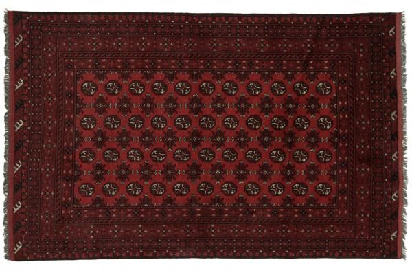 Afghan Aqcha 245x154 Handgeknüpft Teppich 150x250 Beige Geometrisch Muster Kurzflor