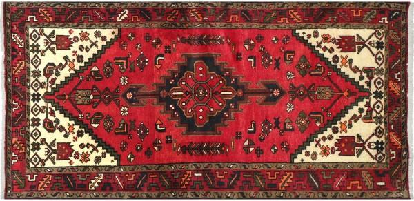 Perser Hamedan Teppich 100x190 Handgeknüpft Rot spiegelmuster Wolle Kurzflor Rug