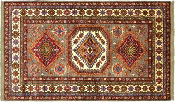 Afghan Kazak Fein 187x121 Handgeknüpft Orientteppich 120x190 Braun Umrandung Wolle