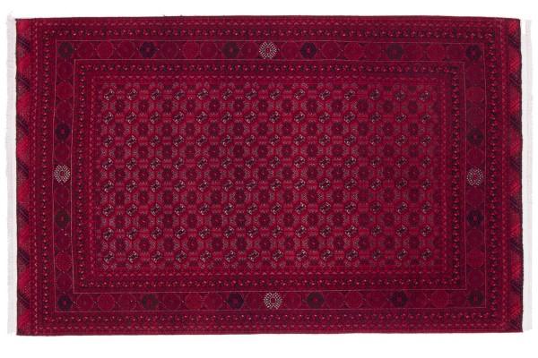 Afghan Orientteppich 201x125 Handgeknüpft Teppich 130x200 Rot Geometrisch Muster