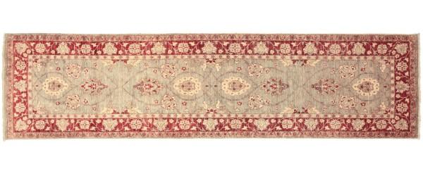 Afghan Chobi Ziegler 296x85 Handgeknüpft Teppich 90x300 Läufer Grau Orientalisch