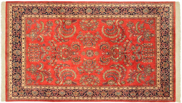 Sarough Teppich 200x300 Handgeknüpft Orange Floral Wolle Kurzflor Rug