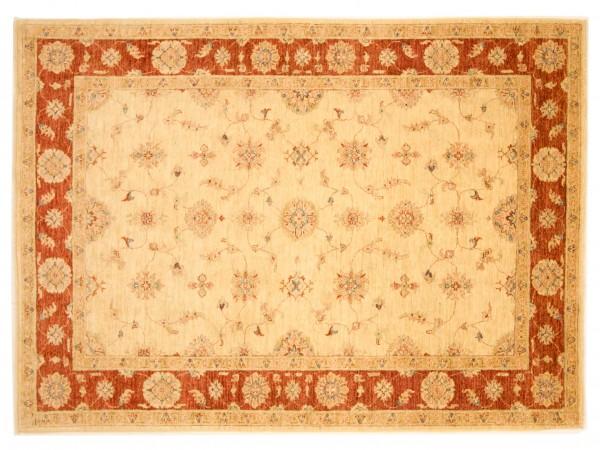 Afghan Chobi Ziegler 236x173 Handgeknüpft Teppich 170x240 Beige Blumenmuster Kurzflor