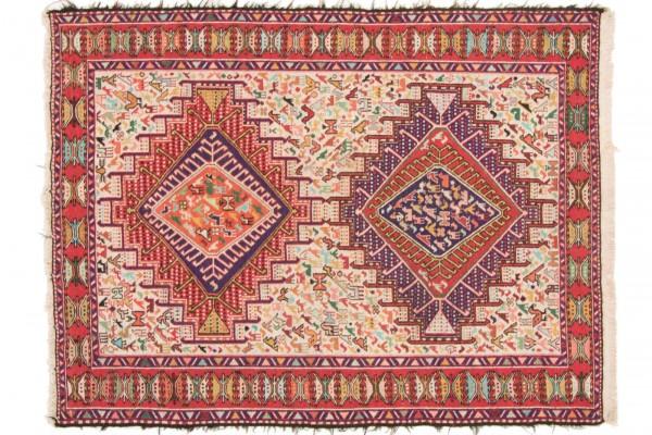Perser Seidensoumakh 144x108 Handgewebt Teppich 110x140 Mehrfarbig Orientalisch