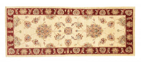 Afghan Chobi Ziegler 209x77 Handgeknüpft Teppich 80x210 Läufer Beige Blumenmuster