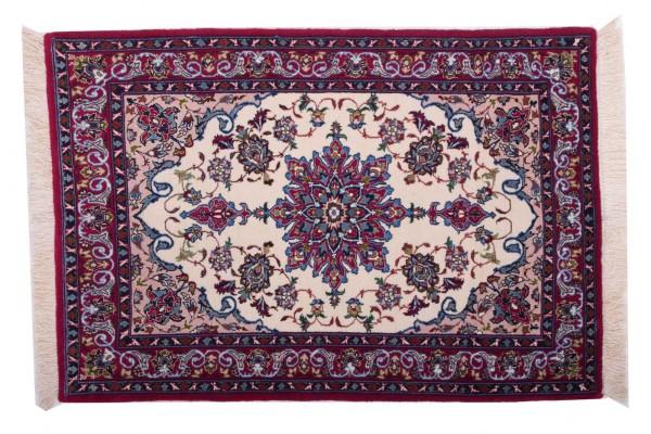 Perser Isfahan 106x72 Handgeknüpft Teppich 70x110 Mehrfarbig Orientalisch Kurzflor