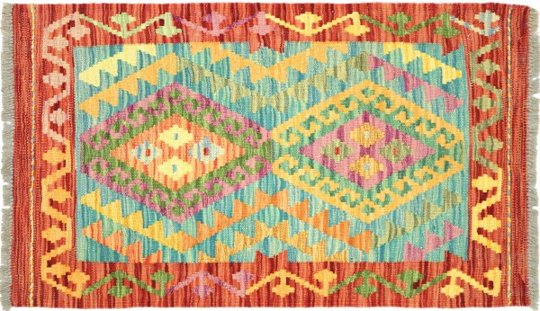 Afghan Maimana Kelim Bunt 97x66 Handgewebt Teppich 70x100 Bunt Geometrisch Orient Wolle