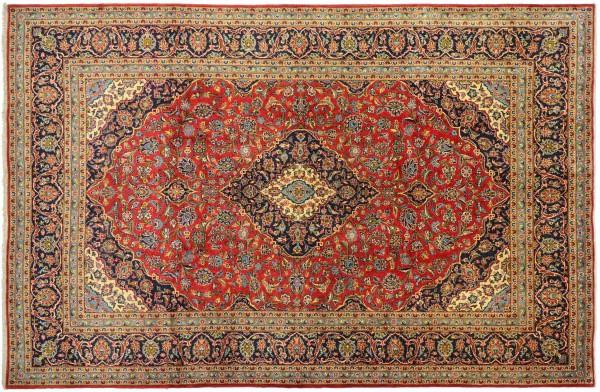 Perser Keshan 338x245 Handgeknüpft Orientteppich 250x340 Rot Spiegelmuster Wolle