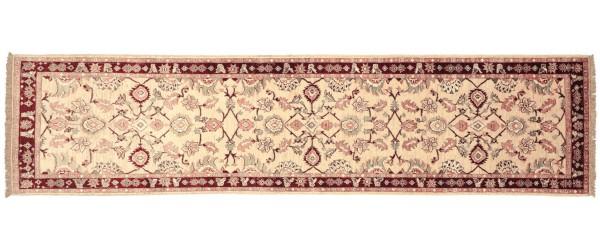 Afghan Chobi Ziegler 295x77 Handgeknüpft Teppich 80x300 Läufer Beige Orientalisch