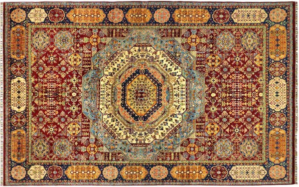 Afghan Ziegler Mamluk 353x248 Handgeknüpft Orientteppich 250x350 Bunt Medaillon Wolle