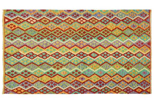 Afghan Maimana Kelim Bunt 196x156 Handgewebt Teppich 160x200 Bunt Geometrisch Orient