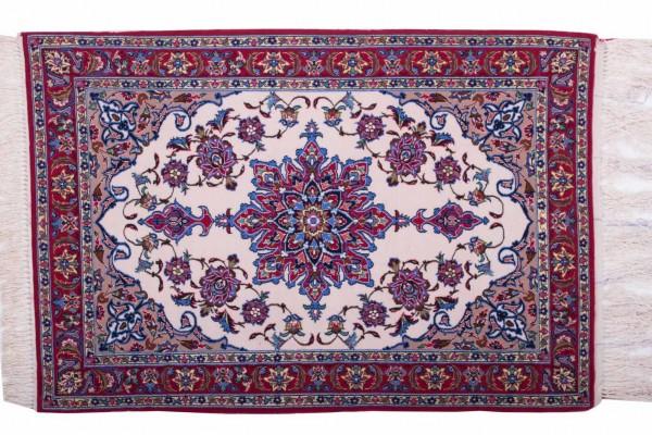 Perser Isfahan 107x74 Handgeknüpft Teppich 70x110 Mehrfarbig Orientalisch Kurzflor