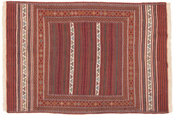 Afghan Mushwani Kelim 200x139 Handgewebt Teppich 140x200 Mehrfarbig Linien Handarbeit