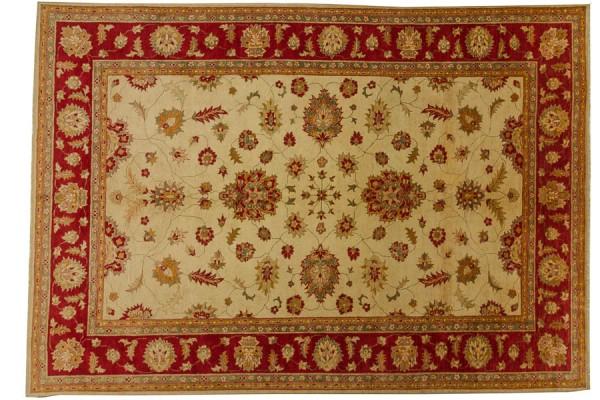 Afghan Chobi Ziegler 390x273 Handgeknüpft Teppich 270x390 Beige Orientalisch Kurzflor