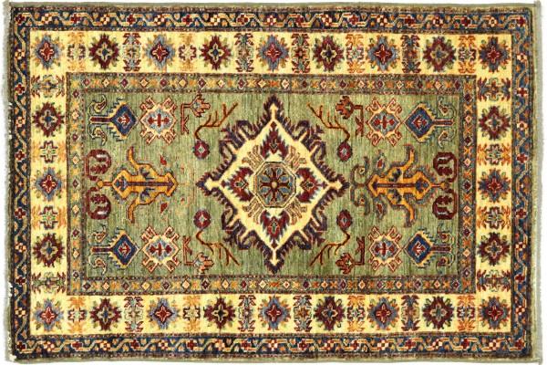 Afghan Kazak Fein 123x87 Handgeknüpft Orientteppich 90x120 Grau Umrandung Wolle