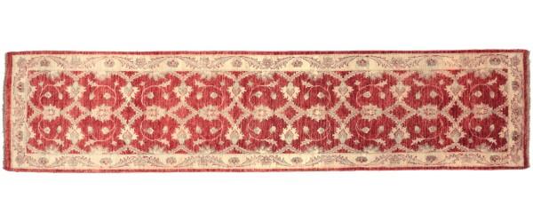 Afghan Chobi Ziegler 310x79 Handgeknüpft Teppich 80x310 Läufer Rot Orientalisch