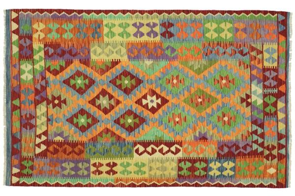 Afghan Maimana Kelim Bunt 194x144 Handgewebt Teppich 140x190 Bunt Geometrisch Orient