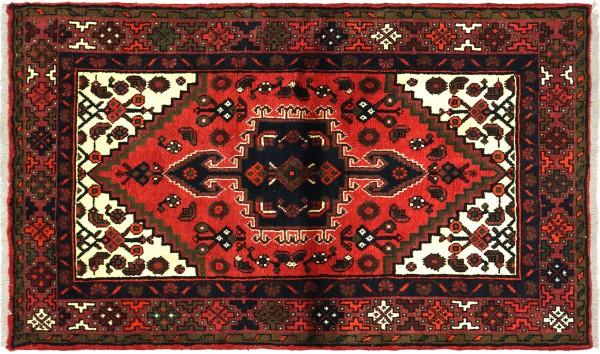 Perser Hamadan 141x97 Handgeknüpft Orientteppich 100x140 Rot Medaillon Wolle Kurzflor