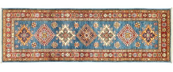 Afghan Kazak Fein 182x64 Handgeknüpft Orientteppich 60x180 Läufer Blau Geometrisch