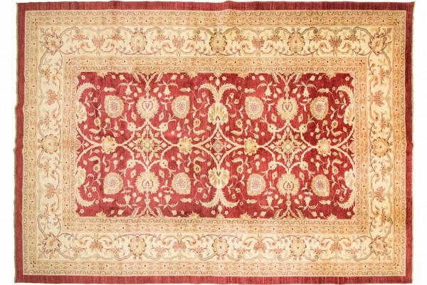 Afghan Chobi Ziegler 448x328 Handgeknüpft Teppich 330x450 Rot Blumenmuster Kurzflor