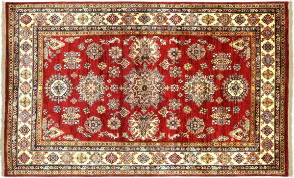 Afghan Kazak Fein 200x150 Handgeknüpft Orientteppich 150x200 Rot Geometrisch Wolle