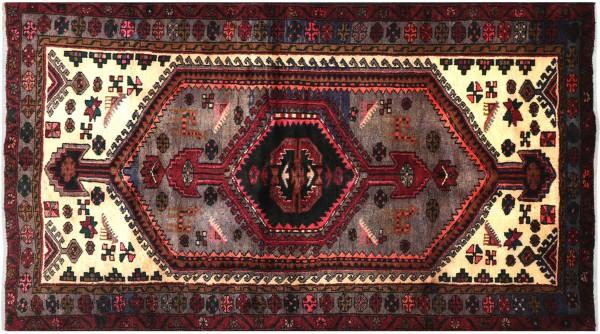 Perser Hamedan Teppich 140x200 Handgeknüpft Rot spiegelmuster Wolle Kurzflor Rug