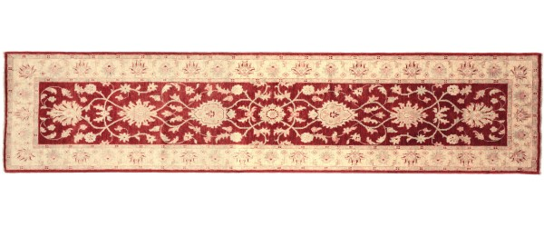 Afghan Chobi Ziegler 297x77 Handgeknüpft Teppich 80x300 Läufer Rot Orientalisch