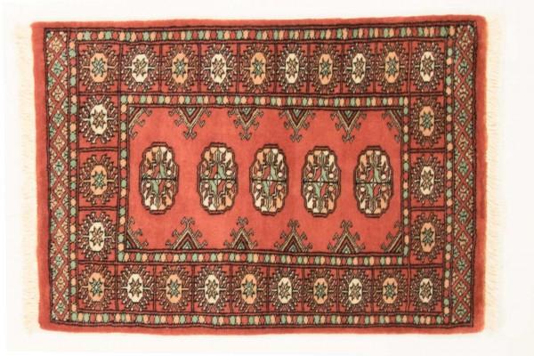 Pakistan Buchara 97x66 Handgeknüpft Teppich 70x100 Orange Geometrisch Muster Kurzflor