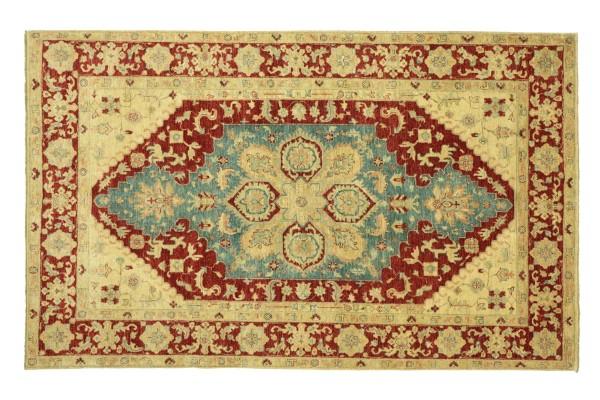 Afghan Chobi Ziegler 263x183 Handgeknüpft Teppich 180x260 Beige Spiegelmuster Kurzflor