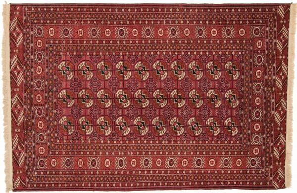 Kaukasus Buchara 192x130 Handgeknüpft Teppich 130x190 Rot Geometrisch Muster Kurzflor