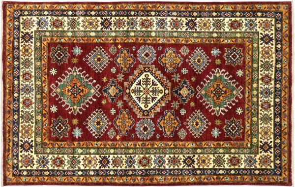 Afghan Kazak Fein 196x154 Handgeknüpft Orientteppich 150x200 Rot Geometrisch Wolle